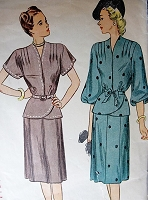 1940s CLASSY Two Pc Dress Pattern SIMPLICITY 1869 Lovely Peplum Overblouse, Two Sleeve Styles  Slim Skirt Bust 36 Vintage Sewing Pattern