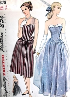1940s BEAUTIFUL Strapless Dreamy Party Prom Evening Dress Pattern SIMPLICITY 1878 Figure Flattering SWEETHEART Neckline Glam Design Bust 31 Vintage Sewing Pattern