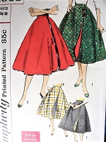 1950s Vintage Sewing Pattern  Wrap Around Skirt SIMPLICITY 1908, Reversible Skirt , Rockabilly Full Skirt , Circle Skirt