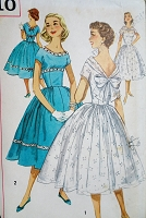 1950s PRETTY Party Prom Cocktail Dress Pattern SIMPLICITY 1910 Special Occasion Full Skirt Dress Fitted Midriff, V Back, Bust 32 Vintage Sewing Pattern
