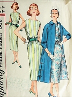 1950s POSH Sheath Dress with Boat Neckline and Coat Vintage SIMPLICITY Pattern 1911 Bust 34