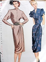 1940s STUNNING Dinner Cocktail Party Dress Pattern SIMPLICITY 1954 Two Beautiful Designs With Side Draped Overskirt Bust 30 Vintage Sewing Pattern