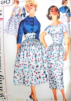 1950s LOVELY Slim or Full Skirt Empire Midriff Dress and Short Jacket Pattern SIMPLICITY 1990 Daytime or Party Bust 36 Vintage Sewing Pattern