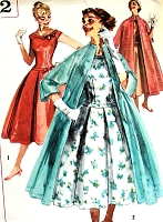 BEAUTIFUL 1950s Glam Party Dress and Evening Coat Pattern SIMPLICITY 1992 Figure Flattering Dress Bust 34 Vintage Sewing Pattern UNCUT