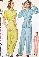 1940s Lingerie WW II Pattern SIMPLICITY 1995 Katherine Hepburn Style PAJAMAS,Trousers and Top,Sleepwear or Daytime Bust 32 Vintage Sewing Pattern