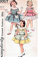 1950s SWEET Little Girls Party Dress Pattern SIMPLICITY 2017 Three Very Pretty Styles Size 3 Vintage Childrens Sewing Pattern