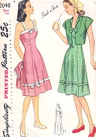 1940s PRETTY Sun Dress and Bolero Jacket Pattern SIMPLICITY 2046 Day or Evening Length Dress Bust 32 Vintage Sewing Pattern