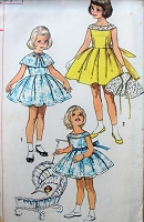 1950s Vintage LOVELY Girls Pleated Dress with Cape Simplicity 2058 Sewing Pattern Chest 24
