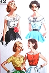 1950s ROCKABILLY Blouse Pattern SIMPLICITY 2062 Four Lovely Styles Bust 32 or 34 Vintage Sewing Pattern