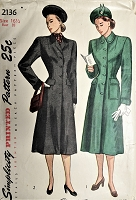 1940s FLATTERING Princess Style Coat Pattern SIMPLICITY 2136 Beautifully Fitted Coat With 2 Style Versions Bust 35 Vintage Sewing Pattern FACTORY FOLDED