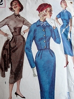 1950s Vintage SMART Fitted Dress with High Collar and Cropped Jacket Simplicity 2172 Sewing Pattern Bust 32