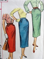 1950s BASIC Set of Slim Skirts Simplicity 2191 Waist 26 Vintage Sewing Pattern