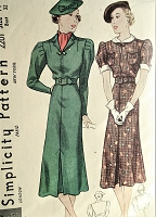 1930s CHIC Tailored Dress Pattern SIMPLICITY 2201 Two Lovely Styles Bust 32 Vintage Sewing Pattern FACTORY FOLDED
