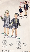 1940s ADORABLE Toddlers Little Boys Girls Brother and Sister Suit and Hat Pattern SIMPLICITY 2206 Sweet Childrens Size 3 Vintage Sewing Pattern
