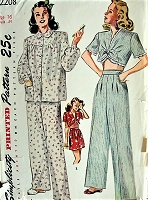 1940s Vintage CHARMING Short or Long Pjs with Cropped or Full Shirt Pajamas Simplicity 2208 Sewing Pattern Bust  34
