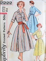 1950s CHARMING Button-up Shirt and Sash Dress Pattern Simplicity 2222 Vintage Sewing Pattern Bust 36