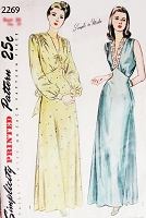 1940s SLINKY Nightgown Lingerie Pattern SIMPLICITY 2269 Two Film Noir Pin Up Styles Figure Flattering V Necklines Bust 38 Vintage Sewing Pattern