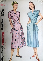 1940s CLASSIC House Dress Pattern SIMPLICITY 2275 Wrap Around Dress 2 Style Versions Bust 32 Vintage Sewing Pattern