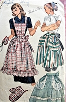 1940s FANTASTIC Apron in Three Styles with Large Pockets  and Mitt Simplicity 2295 Vintage Sewing Pattern