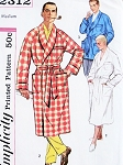 1950s Hugh Hefner Style Robe or Lounge Jacket Pattern SIMPLICITY 2312 Size Medium or X Large Bathrobe in 3 Style Versions Vintage Sewing Pattern