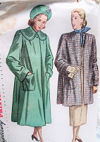 1940s LOVELY Flared Back Coat Pattern SIMPLICITY 2331 Two Beautiful styles Bust 34 Vintage Sewing Pattern