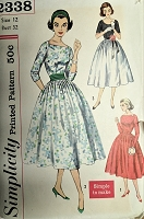1950s LOVELY Party Evening Dress Pattern SIMPLICITY 2338 Simple To Make Full Skirted Dress and Cummerbund 3 Flattering Versions Bust 32 Vintage Sewing Pattern