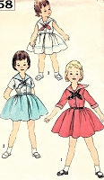 1950s ADORABLE Little Girls Sailor Middy Dress Pattern SIMPLICITY 2358 Three Cute Styles Childrens Size 5 Vintage Sewing Pattern