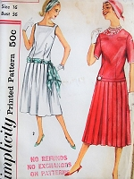 1950s PRETTY Pleated Two Piece Dress with Sash Simplicity 2363 Bust 36 Vintage Sewing Pattern