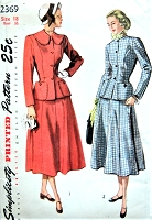 1940s LOVELY Suit Pattern SIMPLICITY 2369 Fitted Jacket and Flared Gored Skirt Figure Flattering Design Bust 36 Vintage Sewing Pattern FACTORY FOLDED