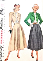 1940s FLATTERING Suit and Blouse Pattern SIMPLICITY 2372  Bolero Jacket Circular Skirt and Tucked Front Blouse Bust 36 Vintage Sewing Pattern
