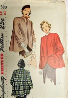 1940s LOVELY Flared Back Coat Jacket Pattern SIMPLICITY 2380 Beautiful Design Cutaway Front, Wide Cuffs Car Coat Bust 32 Vintage Sewing Pattern