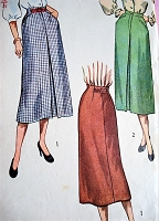 1940s CLASSY Slim Skirts Pattern SIMPLICITY 2383 Two Skirt Styles Waist 28 Vintage Sewing Pattern
