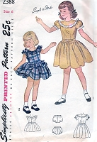 1940s CUTE Little Girls Dress Pattern SIMPLICITY 2388 Simple To Make Dress in 2 Versions, and Panties Childrens Vintage Sewing Pattern