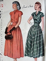 1940s Vintage ELEGANT Dress with Gathered Skirt Simplicity 2404 Bust 32 Sewing Pattern