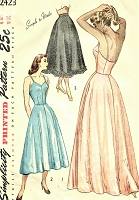 1940s LOVELY Slip Petticoat Lingerie Pattern SIMPLICITY 2423 Simple To Sew Half Slip, Day or Evening Length Full Slips Bust 34 Vintage Sewing Pattern