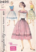 1950s PRETTY Blouse,Skirt and Cummerbund Pattern SIMPLICITY 2426 Three Style Versions Bust 32 Simple To Make Vintage Sewing Pattern