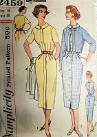 1950s CHIC Slim Coat Dress and Bolero Jacket Pattern SIMPLICITY 2459 Slenderette Front Button Dress and Cropped Jacket Bust 38 Vintage Sewing Pattern