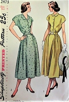 1940s PRETTY Dress Pattern SIMPLICITY 2473 Front Button Dress With Scalloped Trim Bust 32 Vintage Sewing Pattern