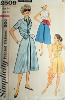 1950s Blouse and Culotte Skirt Pattern SIMPLICITY 2509 Sporty Styles Culotte Skirt in 2 lengths Day or Beachwear Bust 34 Vintage Sewing Pattern