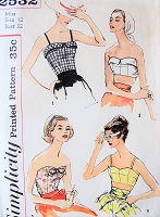 1950s GLAMOROUS Evening or Beach Bras and Tops Pattern SIMPLICITY 2532 Four Lovely Styles Bust 32 Vintage Sewing Pattern