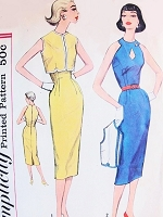 1950s BOMBSHELL Sheath Dress and Boloero Jacket Pattern SIMPLICITY 2542 Stunning Slim Dress Peekaboo Cut Out Neckline Day or Cocktail Evening Dress Bust 36 Vintage Sewing Pattern FACTORY FOLDED