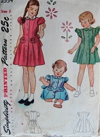 1940s Vintage DARLING Childs Dress with Embroidery Details Simplicity 2554 Chest 22 Sewing Pattern
