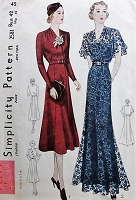 1930s LOVELY Evening Gown Cocktail Dinner Dress Pattern SIMPLICITY 2581 Beautiful Surplice Bodice Bust 42 Vintage Sewing Pattern