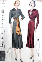 1930s LOVELY Dress Pattern SIMPLICITY 2609 V Neckline Two Beautiful Styles Bust 32 Vintage Sewing Pattern