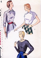 1940s CHIC Blouse Pattern SIMPLICITY 2614 Three Daytime or Evening Styles Bust 34 Vintage Sewing Pattern