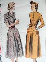 Vintage 1940s CLASSIC Shirtwaist Dress with Pockets Simplicity 2617 Sewing Pattern Bust 32