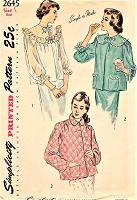 1940s PRETTY Bed Jackets Pattern SIMPLICITY 2645 Three Cute Styles Bust 34 Simple To Make Vintage Sewing Pattern