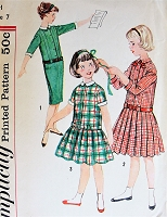 1960s ADORABLE Girls Drop Waist Dress Pattern SIMPLICITY 2670 Three Cute Styles Size 7 Vintage Childrens Sewing Pattern