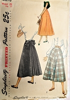 1940s LOVELY Back Pleated Skirt Pattern SIMPLICITY 2678 Three Versions Day or Evening Skirts Waist 28 Vintage Sewing Pattern