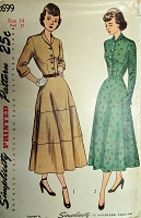 Late 40s LOVELY Dress Pattern SIMPLICITY 2699 Two Versions Bust 32 Vintage Sewing Pattern